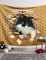 cheap -Wall Tapestry Art Decor Blanket Curtain Hanging Home Bedroom Living Room Decoration Polyester Cat Watching Break the Bricks