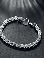 cheap -Men's Chain Bracelet Bracelet Cut Out Precious Fashion Copper Bracelet Jewelry Silver For Christmas Party Wedding Street Daily / Silver Plated