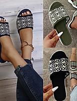 cheap -Women's Sandals Flat Heel Round Toe PU Floral Black Army Green Blue