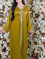 cheap -Women's Kaftan Dress Maxi long Dress Yellow Green Long Sleeve Solid Color Patchwork Summer Round Neck Casual 2021 S M L XL XXL
