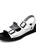 cheap -Men's Sandals Leather Shoes Flat Sandals Sporty Casual Beach Daily Outdoor Water Shoes Trail Running Shoes Nappa Leather Cowhide Breathable Non-slipping Shock Absorbing Booties / Ankle Boots White