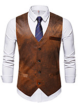 cheap -Men's Vest Gilet Wedding Work Fall Winter Regular Coat Regular Fit Thermal Warm Casual Jacket Sleeveless Solid Color Patchwork Coffee