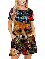 cheap -Women's T Shirt Dress Tee Dress Short Mini Dress Red Short Sleeve Floral Animal Pocket Print Spring Summer Round Neck Casual 2021 S M L XL XXL 3XL