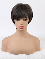 cheap -Cosplay Costume Wig Synthetic Wig Cosplay Wig Natural Straight Silky Straight With Bangs Wig 10 inch Dark Brown Synthetic Hair 16 inch Women's Fashionable Design Classic New Arrival Dark Brown Ombre
