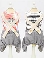 cheap -Dog Cat Dog clothes Stripes Quotes & Sayings Basic Cute Dailywear Casual / Daily Dog Clothes Puppy Clothes Dog Outfits Breathable Black Red Costume for Girl and Boy Dog Padded Fabric Polyester S M L