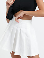 cheap -Women's Homecoming Casual / Daily Elegant Preppy Skirts Solid Colored Pleated White Black