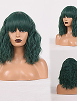 cheap -Cosplay Costume Wig Synthetic Wig Wavy Loose Curl Neat Bang Wig Black / Green Synthetic Hair Women's Odor Free Fashionable Design Soft Green