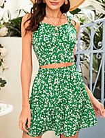 cheap -Women's Streetwear Print Vacation Going out Two Piece Set Crop Top Skirt Ruffle Print Tops