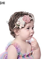 cheap -amazon creative fashion pearl net yarn stitching flower children's thin hair band super soft elastic baby hair accessories