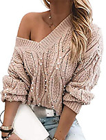 cheap -chicme women's v neck beaded long sleeve knit top casual off shoulder pullover sweater s pink
