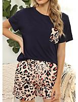 cheap -Women's Home Cotton Blend everyday Scoop Neck Loungewear Short Sleeve Print Spring & Summer Textured S 1