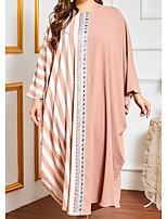 cheap -Women's Kaftan Dress Maxi long Dress Blushing Pink Long Sleeve Color Block Patchwork Summer Round Neck Casual 2021 One-Size