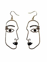 cheap -human abstract art face crystal statement dangle earrings vintage hypoallergenic face contour drop earring fashion punk style jewelry for girls teens women - black