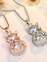 cheap -Women's Cubic Zirconia Pendant Necklace Fox Fashion Sweet Imitation Diamond Alloy Gold Silver 40+5 cm Necklace Jewelry 1pc For Festival