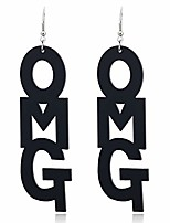 cheap -acrylic drop white and black omg words dangle earrings (black)