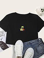 cheap -Women's Crop Tshirt Animal Print Round Neck Tops Cotton Basic Basic Top White Black