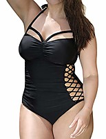 cheap -Women's One Piece Romper Swimsuit Hollow Out Open Back Solid Color Black Plus Size Swimwear Bathing Suits Fashion Sexy
