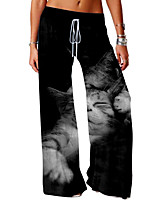 cheap -Women's Basic Soft Comfort Daily Home Chinos Pants Cat Graphic Full Length Elastic Drawstring Design Print White Black Dark Gray Gray