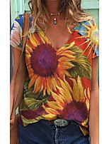 cheap -Women's T shirt Flower V Neck Tops Basic Basic Top Rainbow