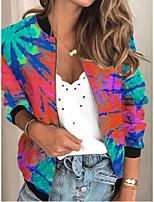 cheap -Women's Jackets Print Print Sporty Fall Jacket Regular Daily Long Sleeve Air Layer Fabric Coat Tops Green