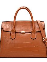 cheap -Women's Bags PU Leather Satchel Top Handle Bag Zipper Date Office & Career 2021 Handbags Black Red Brown Gray