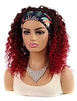cheap -hair band real hair headgear deep volume medium long small volume wig headgear black gradient red headscarf headgear 14 inch