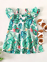 cheap -Kids Little Girls' Dress Tropical Leaf Trees / Leaves Party Birthday Party Backless Print Light Green Midi Sleeveless Regular Basic Sweet Dresses Children's Day Summer Slim 1-5 Years