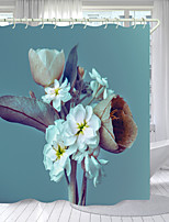 cheap -Dead Leaves And White Flowers Digital Printing Shower Curtain Shower Curtains  Hooks Modern Polyester New Design