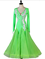 cheap -Ballroom Dance Dress Appliques Split Joint Crystals / Rhinestones Women's Training Long Sleeve Chinlon Mesh Chiffon