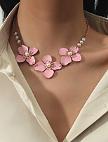 cheap -Women's Choker Necklace Necklace Classic Flower Shape Simple European Sweet Imitation Pearl Alloy Blushing Pink 40-50 cm Necklace Jewelry 1pc For Party Evening Street Prom Birthday Party Festival