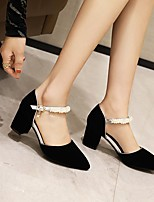 cheap -Women's Wedding Shoes Pumps Faux Leather Black Red Blue