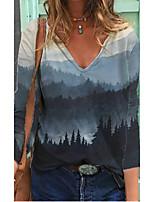 cheap -Women's T shirt Scenery Long Sleeve V Neck Tops Basic Basic Top Blue