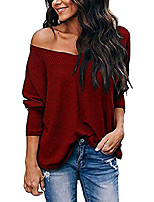 cheap -fronage womens fall knit sweater cute v neck off shoulder batwing long sleeve t-shirts solid loose pullover tops (medium, wine red)