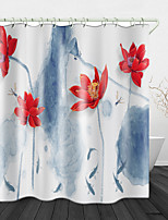 cheap -Beautiful Red Lotus Painting Print Waterproof Fabric Shower Curtain for Bathroom Home Decor Covered Bathtub Curtains Liner Includes with Hooks