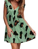cheap -Women's A Line Dress Short Mini Dress White Black Blue Purple Blushing Pink Wine Khaki Green Gray Short Sleeve Paisley Ruffle Print Summer V Neck Elegant Casual 2021 S M L XL XXL 3XL 4XL 5XL