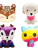 cheap -4 Pcs Jumbo Squishies Slow Rising Toys Kawaii Deer Cake,Pink Dog,Galaxy Deer,Ice Cream Cat Squishys Pack for Kids Stress Toy and Party Favors