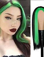 cheap -Fashion Long Black Straight Hair Wig Highlighting Green Hair Synthetic Wig For Girls With Cosplay Wig Blunt Cut Bob