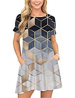 cheap -Women's T Shirt Dress Tee Dress Short Mini Dress Purple Green Gray Short Sleeve Print Color Block Geometric Pocket Print Spring Summer Round Neck Casual 2021 S M L XL XXL 3XL