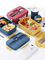 cheap -Lunch Box Kids Student Double Layers 1-2L Colorful Microwavable Food Storage Container Tableware Heating Lunch Box with Spoon and Fork Nordic Style