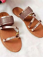 cheap -Women's Sandals Flat Heel Round Toe PU Color Block Gold Silver