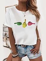cheap -Women's T shirt Graphic Print Round Neck Tops 100% Cotton Basic Basic Top White