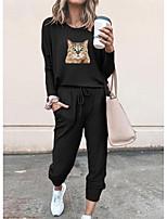 cheap -Women Basic Streetwear 3D Print Cat Vacation Casual / Daily Two Piece Set Tracksuit T shirt Pant Loungewear Jogger Pants Drawstring Print Tops