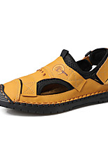cheap -Men's Sandals Beach Roman Shoes Daily Outdoor Nappa Leather Breathable Non-slipping Wear Proof Black Yellow Blue Spring Summer