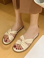 cheap -Women's Sandals Flat Heel Round Toe PU Solid Colored Beige