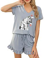 cheap -Women Basic Streetwear Cat Animal Vacation Casual / Daily Two Piece Set Tracksuit T shirt Loungewear Shorts Drawstring Ruffle Print Tops