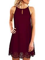 cheap -drimmaks women's halter neck tie back sleeveless cut out scalloped hem light summer short dress(054-burgundy,s)
