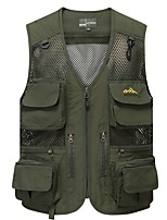 cheap -Men's Hiking Vest / Gilet Fishing Vest Sleeveless Vest / Gilet Jacket Top Outdoor Quick Dry Lightweight Breathable Sweat wicking Autumn / Fall Spring Summer ArmyGreen Black Red Hunting Fishing
