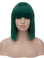cheap -Synthetic Wig Straight Neat Bang Wig Short Ombre Green Synthetic Hair Women's Cosplay Party Fashion Green Blunt Cut Bob