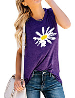 cheap -Women's Holiday Tank Top Floral Graphic Print Round Neck Tops Basic Basic Top Blue Purple Light gray / Going out