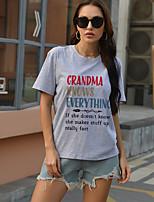 cheap -Women's T shirt Text Print Round Neck Tops Cotton Basic Basic Top Purple Orange Khaki